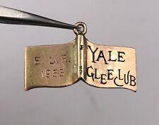 Antique 1953 Yale Gold and Enamel Glee Club Charm W/ Inscription  4.2g
