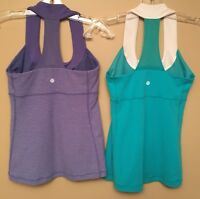 Lululemon Woman Size 6 Scoop Neck Mesh Racer Back Tank Top Run Yoga Lot Of 2