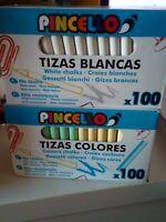 Lote 200 Tizas Blancas y de Colores 2 cajas de tiza para pizarra de 100 unidades