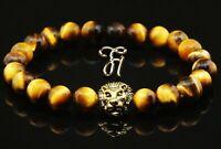 Tigerauge braun - goldfarbener Löwenkopf - Armband Bracelet Perlenarmband 8mm