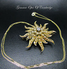 Vintage 14ct Gold Diamond & Seed Pearl Starburst Brooch Pendant Necklace 13.5g
