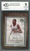2007-08 Artifacts #102 Kevin Durant Rookie Card BGS BCCG 9 Near Mint+
