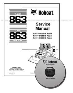 Bobcat 863 Turbo, 863 Turbo Highflow Repair Service Manual CD + Download 6900942