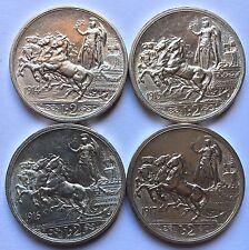Serie Completa 2 Lire Quadriga Briosa 1914 ... 1917 Silver