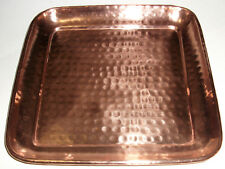 """SOLID COPPER HAND-HAMMERED SQUARE TRAY 11"""" DIMPLE PATTERN ROUNDED CORNER"""