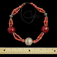 Antique Vintage Nouveau Silver Moroccan Berber Coral Amber Ethic Tribal Necklace
