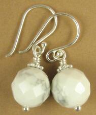 White howlite earrings. Faceted. Grey flecks. Sterling silver hooks. Handmade
