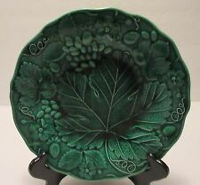 """Antique Wedgwood Very Deep Green Majolica Strawberry Leaf Patten  9"""" Dia. Plate"""
