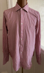Mens Red Striped T.M.LEWIN - Size 16.5/34.measurements Show On The Photos