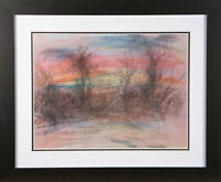Don Hemming - Contemporary Chalk Drawing, Bare Trees At Sunset
