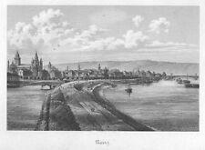 Mainz, Gesamtansicht, Original-Stahlstich von 1879