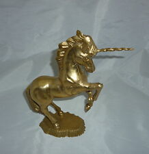 "Solid Brass Cast Unicorn Horse Table Top Display Statue 11"" Vintage Collectible"