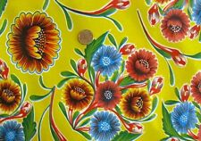 YELLOW BLOOM MEXICAN FIESTA BBQ PICNIC DINING OILCLOTH VINYL TABLECLOTH 48x108