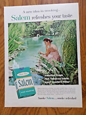 1957 Salem Cigarette Ad  Lady in Pink by the Stream