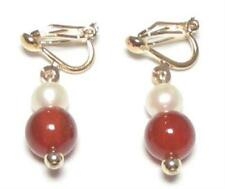 Genuine White Pearl & Red Jade 18K YGP Clip on Earrings