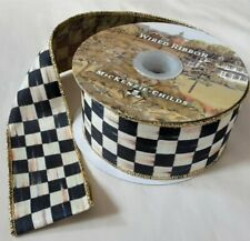 """MacKenzie Childs Ribbon Courtly Check 2"""" Gold Wire Edge by the Yard"""