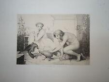 Jean-Léon GÉROME (1824-1904) BELLE GRAVURE COMBAT COQ HOMME FEMME ITALIE 1860