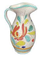Vintage Italian Pottery Sgraffito Pitcher Vase 1960s, Mid-century