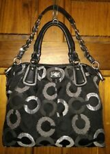 COACH KRISTIN EMBROIDERED OP ART SATCHEL CARRYALL BAG 15356 BLACK & GRAY