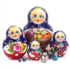 "Nesting Doll Matryoshka Hand Painted in Russia Basket Fruit 6"" 10 pcs"