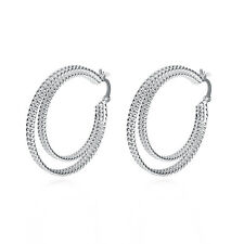 "Sterling Silver Plated  Earrings Hoop Hinged Hoop 1.44"" L403"