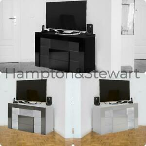 RGB Matt Finish LED Light TV Cabinet Cupboard Unit High Body Gloss Corner UK