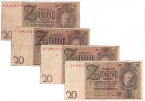 4x 1948 German 20 Deutsche Mark Banknotes old dates 1929 Democratic Republic
