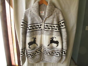Hand knit Cowichan Sweater, Made in Canada - Full Zipper, Shawl Collar, Size M/L