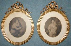 F6 c1900s Pair Litho Print Ladies Portraits in Gilt Frames with Ribbon Detailing