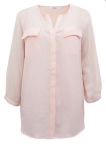 Tiffosi Ladies PINK SOFT 3/4 Sleeve Semi Sheer Chiffon Crepe Blouse Size 10 - 18