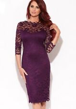 Amy Childs Bodycon Lace Dress 14 Purple 3/4 Sleeve Scallop Midi Sexy Party