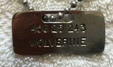 WOLVERINE'S DOG TAG HALLOWEEN PROP METAL LIFE SIZE 1 TO 1 SCALE SILVER PLATED