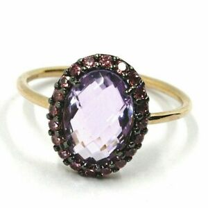 Gold Ring Pink 750 18K, Crystal Oval Cushion, Frame Of Cubic Zircon