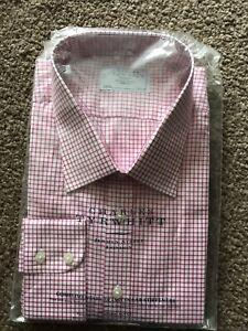 Charles Tywhitt Pink Check Shirt Size 19 Collar