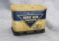 Vintage Purepac Corporation Boric Acid Powdered USP 2 OZ Metal Tin