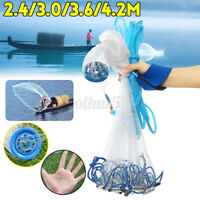 Saltwater Fishing Cast Net For Bait Trap 8/10/12/14Ft Easy Throw Sink Fas