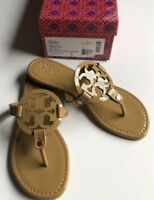 New Tory Burch Nude Patent Leather Miller Logo Sandals Size 8 M: - /