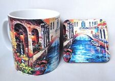 Venice - Italy - Art - Coffee MUG - Coaster - Matching Hardwood Coaster - Gifts