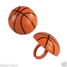 12 PARTY BIRTHDAY FAVORS CAKE TOPPER SPORTS BASKETBALL CUPCAKE RINGS NBA