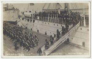 1911 U.S. Military Soldiers Disembark from Transport Ship RPPC Galveston, Texas