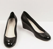 Chanel Black Leather with Patent Leather Cap Toe CC Logo Wedge Heels Pumps 40
