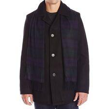 Tommy Hilfiger Men's Melton Wool Walking Coat with Scarf - Black, Large