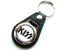 More details for kiss classic american rock band quality leather and chrome keyring