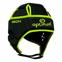 Optimum Sports Origin Rugby Headguard Maximum Cranial Protection - Black/Fluro