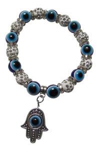 Bracelet Elastic Hand And Eye Of Fatima Beads With White Rhinestone