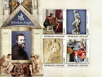 Gabon 2016 MNH Michelangelo 4v M/S Art Paintings Sculptures Stamps