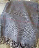 Large Grey Wool Grey&Pink Dog Tooth Check Scarf/Wrap/Shawl-Made In Scotland