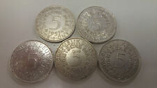Lot of 5 Different, German 5 Mark coins