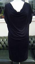 Knee Length Cowl Neck Patternless Tunic Dresses for Women