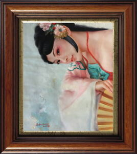 """Fine art original oil painting on canvas portrait of  ancient young lady 20""""x24"""""""